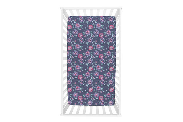 Trend Lab Flora Jersey Fitted Crib Sheet, , large