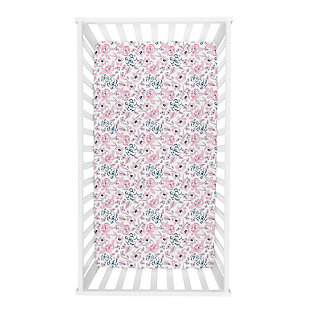 Trend Lab Watercolor Floral Jersey Fitted Crib Sheet, , rollover