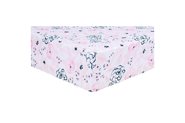 Trend Lab Watercolor Floral Jersey Fitted Crib Sheet, , large