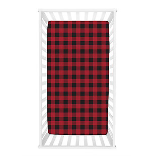 Trend Lab Buffalo Check Red/Black Jersey Fitted Crib Sheet, , rollover