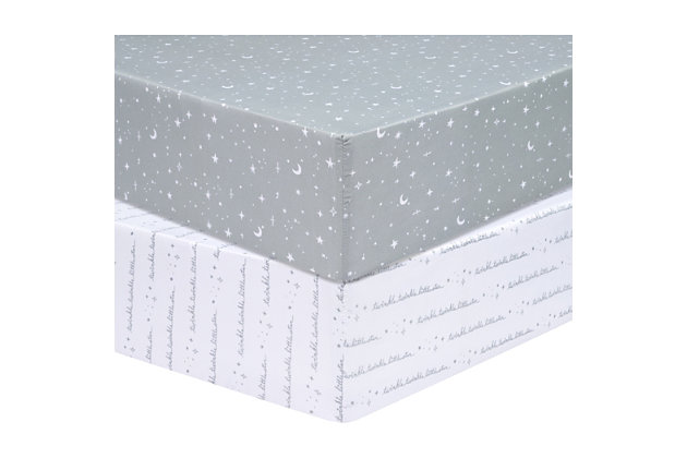 Trend Lab Celestial 2 Pack Microfiber Fitted Crib Sheets, , large