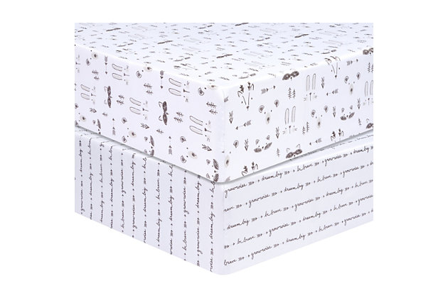 Trend Lab Scandi Animal 2 Pack Microfiber Fitted Crib Sheets, , large
