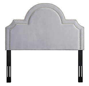 TOV Laylah Full Headboard in Gray Velvet, , large