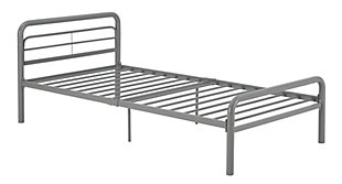 Metal Twin Bed, Silver, large