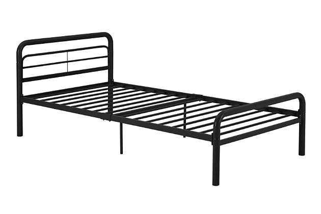 Metal Twin Bed, Black, large