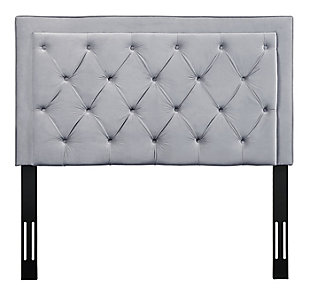 TOV Nacht Twin Headboard in Gray Velvet, Gray, large