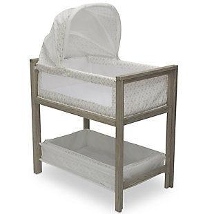 Simmons Kids Farmhouse 2-in-1 Wood Bedside Bassinet Sleeper and Changer, , large