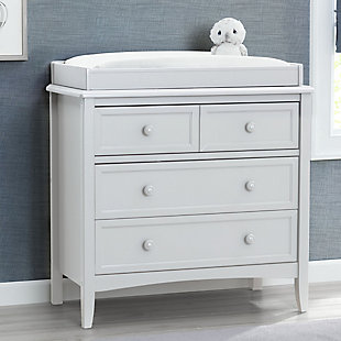 Delta Children Westminster 3 Drawer Dresser with Changing Top, White, rollover