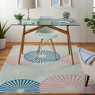 Nourison Kids Grafix White and Blue 5'x7' Area Rug, Ivory/Pink/Blue, rollover