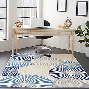 Nourison Kids Grafix White and Blue 5'x7' Area Rug, White/Blue, rollover