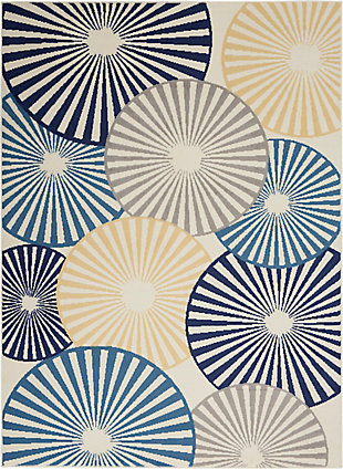 Nourison Kids Grafix White and Blue 5'x7' Area Rug, White/Blue, large