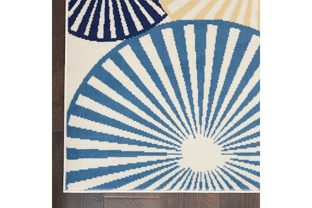 Nourison Kids Grafix White and Blue 5'x7' Area Rug, White/Blue, large