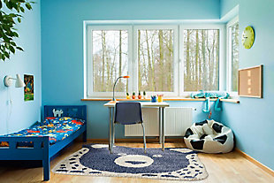 Nourison Kids Hudson Blue 4' Freeform Area Rug, Blue, large