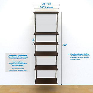 "Organized Living freedomRail® Adjustable Shelf Kit- 24"" (6 Shelf), Chocolate Pear, large"