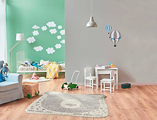 Nourison Kids Hudson Grey 4' Freeform Area Rug, Light Gray, rollover