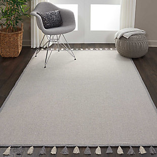 Nourison Kids Otto Grey 5'x8' Flat Weave Area Rug, Light Gray, rollover