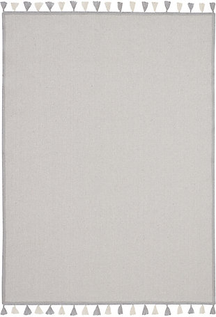 Nourison Kids Otto Grey 5'x8' Flat Weave Area Rug, Light Gray, large