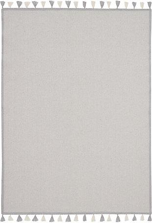 Nourison Kids Otto Grey 5'x8' Flat Weave Area Rug, Light Gray, large