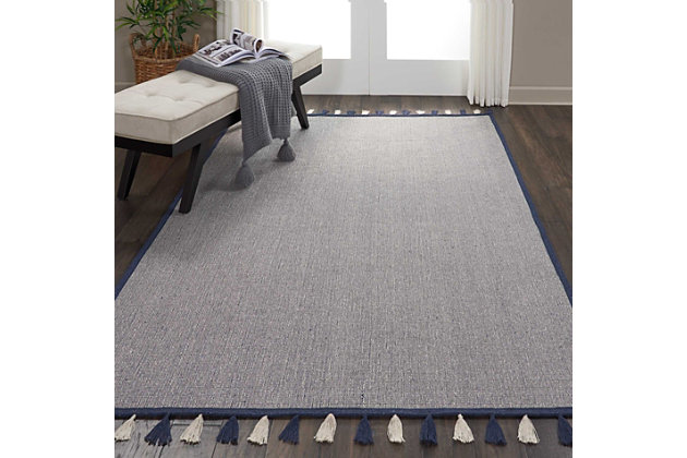 Nourison Kids Otto Dark Blue 5'x8' Flat Weave Area Rug, Navy, large