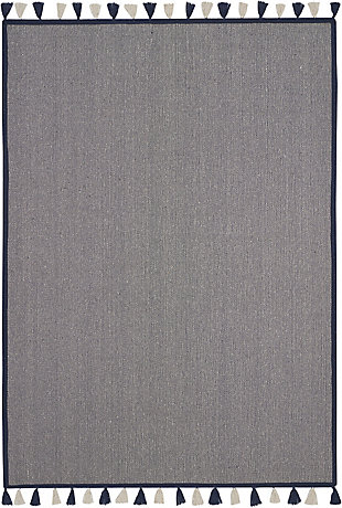 Nourison Kids Otto Dark Blue 5'x8' Flat Weave Area Rug, Navy, large