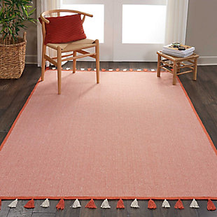 Nourison Kids Otto Orange 5'x8' Flat Weave Area Rug, Orange, rollover