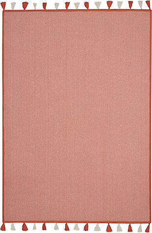 Nourison Kids Otto Orange 5'x8' Flat Weave Area Rug, Orange, large