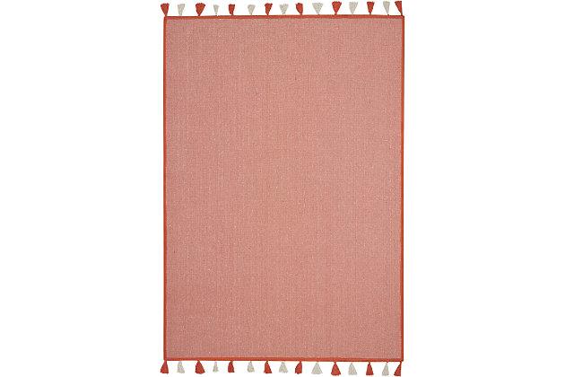 Nourison Kids Otto Orange 5'x8' Flat Weave Area Rug, Orange, large