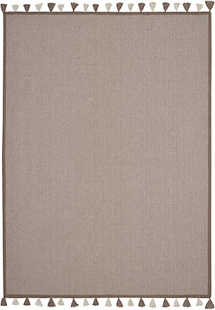 Nourison Kids Otto Taupe 5'x8' Flat Weave Area Rug, Taupe, large
