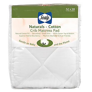 Kolcraft Sealy Naturals Cotton Crib and Toddler Mattress Pad, , large