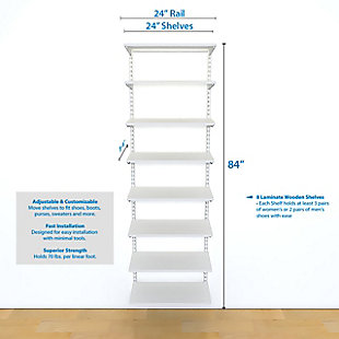 "Organized Living freedomRail® Adjustable Shelf Kit- 24"" (8 Shelf), White, large"