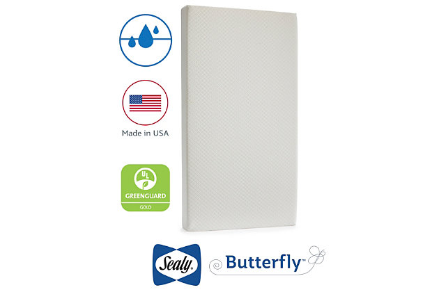 Kolcraft Sealy Butterfly Breathable Knit Crib Mattress and Toddler Mattress, , large