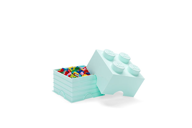 Lego ®  Storage Brick 4 - Aqua Blue, Aqua, large