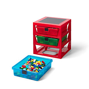 Lego ®  3-Drawer Storage Rack - Red, Red, rollover