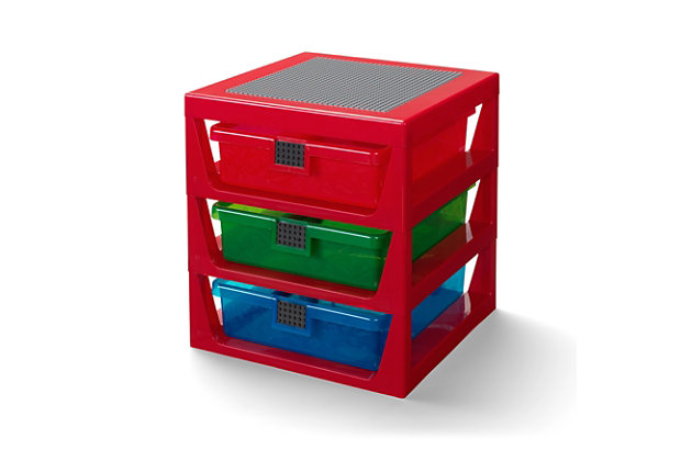Lego ®  3-Drawer Storage Rack - Red, Red, large