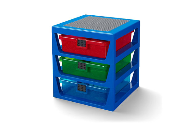 Lego ®  3-Drawer Storage Rack - Blue, Blue, large