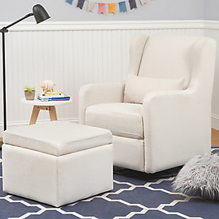 Carter's by Davinci Adrian Swivel Glider with Storage Ottoman, White, rollover