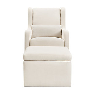 Carter's by Davinci Adrian Swivel Glider with Storage Ottoman, White, large