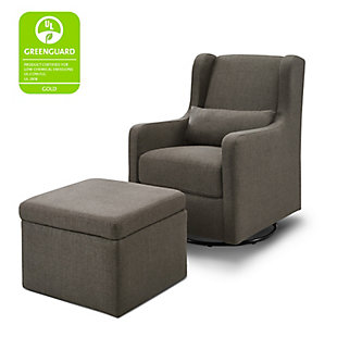 Carter's by Davinci Adrian Swivel Glider with Storage Ottoman, Charcoal, large