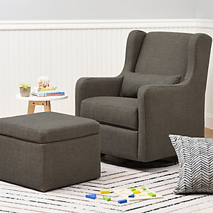Carter's by Davinci Adrian Swivel Glider with Storage Ottoman, Charcoal, rollover