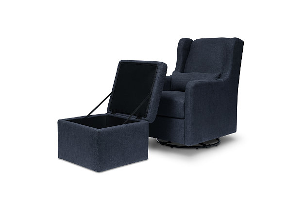 Carter's by Davinci Adrian Swivel Glider with Storage Ottoman, Blue, large
