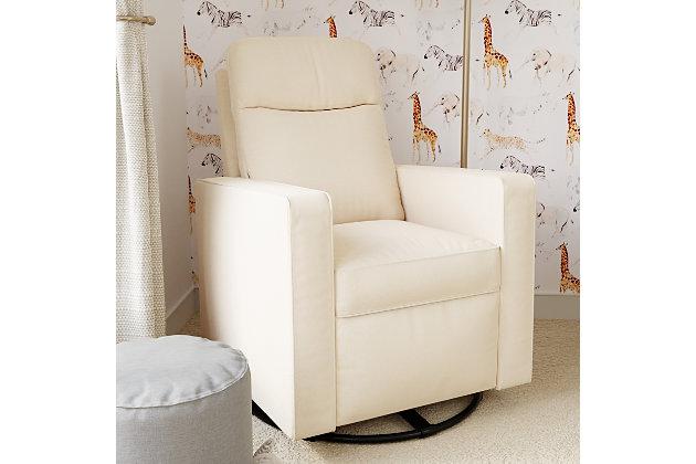 Davinci Gabby Pillowback Swivel Glider, White, large