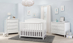 Sorelle  Berkley Round Top Panel Crib, White, rollover