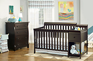 Sorelle  Florence Crib & Changer, Brown, rollover