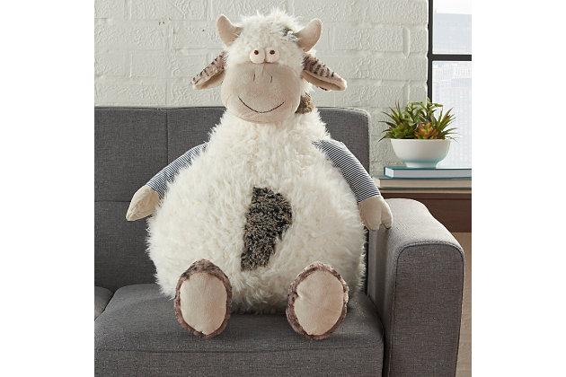 Nourison Kids Mina Cow Pouf Animal Pillow, , large