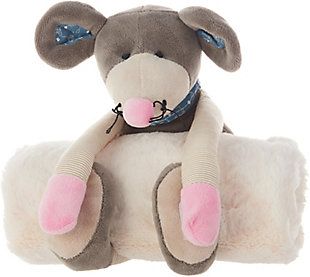 Nourison Kids Mina Victory Mouse Animal Pillow With Blanket, , large
