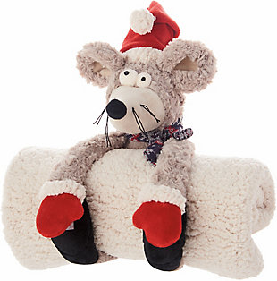 Nourison Kids Mina Victory Christmas Mouse Pillow With Blanket, , rollover