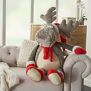 Nourison Kids Mina Victory Christmas Moose Animal Pillow, , rollover