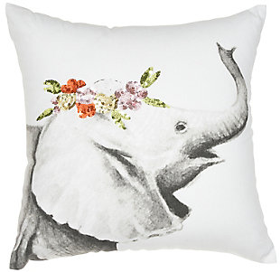 "Nourison Trendy Elephant 18"" x 18"" Pillow, , large"
