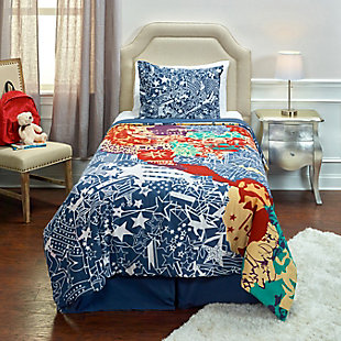 Cotton Travel and Explore 2 Piece Twin Comforter Set, Blue, rollover