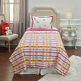 Cotton Punk Rock Animal Stars 2 Piece Twin Comforter Set, White, rollover